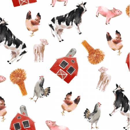 Tossed Farm Animals (Cows, Pigs, Chickens, Sheep) and Items (Barns, Hay) on White:  Silo by Whistler Studios for Windham Fabrics
