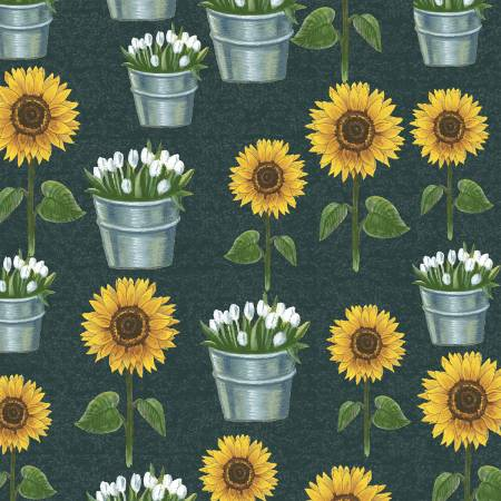Windham Fabrics - Sunflower Market by Whistler Studios -  Chalkboard Sunflowers