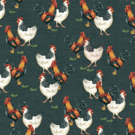 Windham Fabrics - Sunflower Market by Whistler Studios -  Chalkboard Chickens