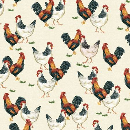 Windham Fabrics - Sunflower Market by Whistler Studios -  Cream Chickens