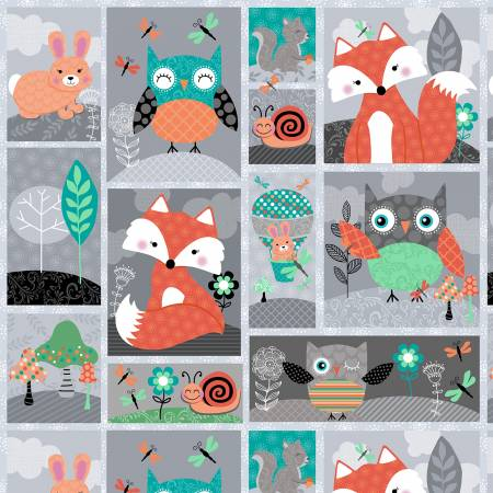 Owl's Woodland Adventure Grey Patchwork