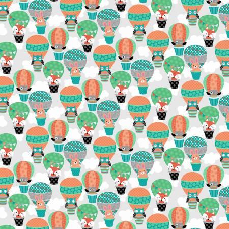 Owl's Woodland Adventure Light Grey Owl's Hot Air Balloons
