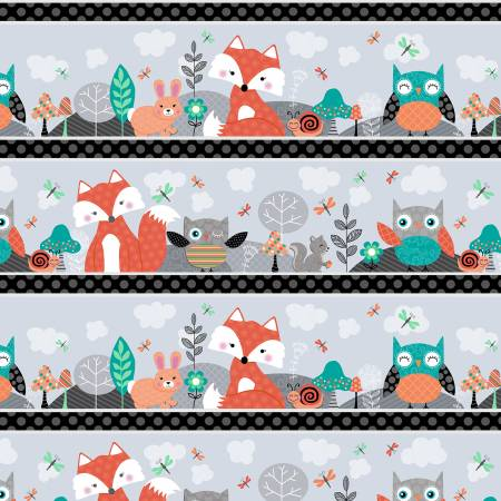 Owl's Woodland Adventure Grey Novelty Stripe