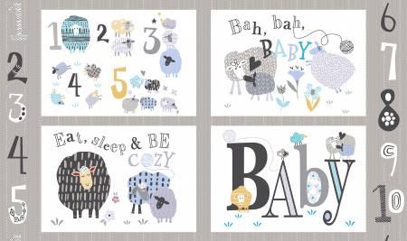 Multi Bah Bah Baby Pillow Panel 24in