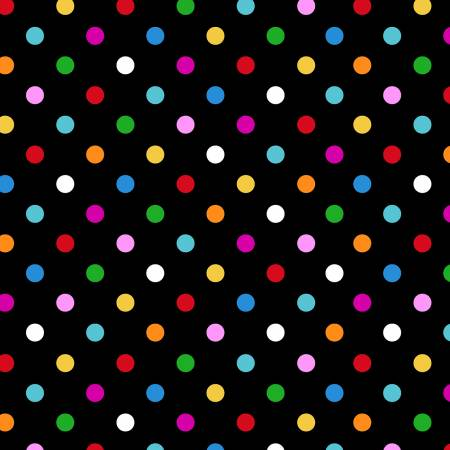 I Heart You Black Multi Color Dots