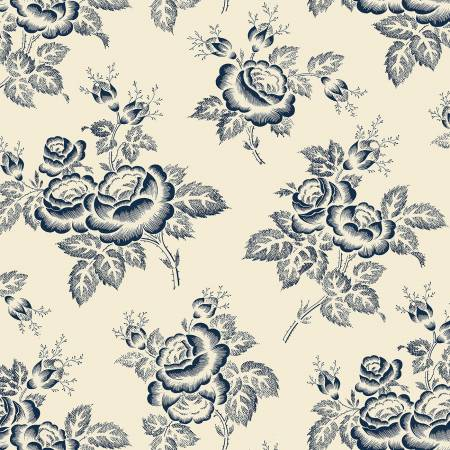 Windham - Abigal Blue - Cream Large Floral