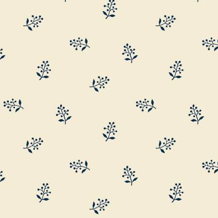Windham - Abigal Blue - Cream Flower Sprig