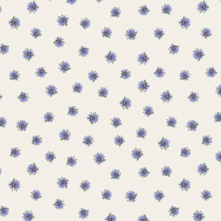 WIND- Kaleidoscope Purple Flowers on Ivory