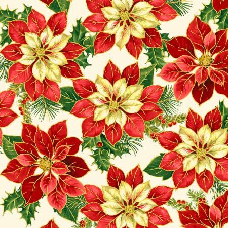 51022M-1 Cream Poinsettia Metallic Song of Christmas Windham