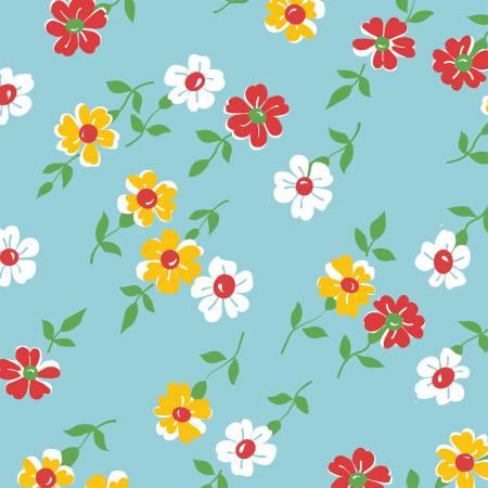 Windham Bounce Aqua Floral