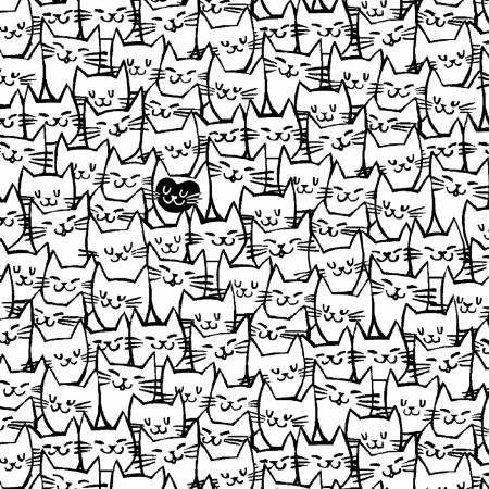 White Packed Cats 108in Quilt Back