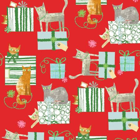 Make Merry - Red Gift Wrapped Cats