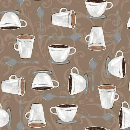 Dark Roast - Mocha Cups on Scroll - By Whistler Studios for Windham Fabrics