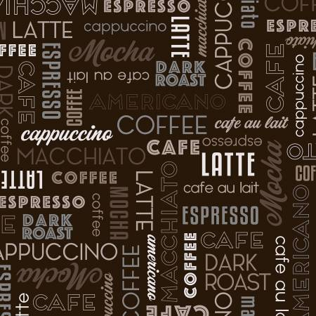 Dark Roast - Espresso, Coffee Words - by Whistler Studios for Windham Fabrcs
