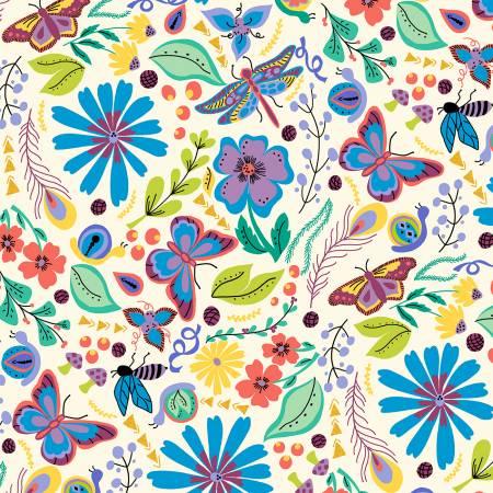 Juniper - White Butterfly Floral w/Metallic