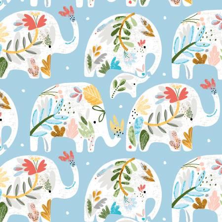 Ellie Blue Floral Elephant
