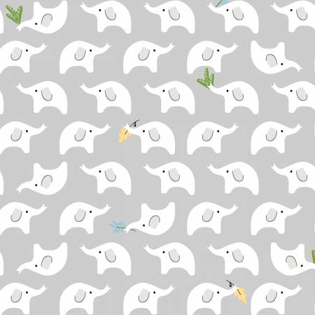 Ellie Light Grey Baby Elephants 51359-6