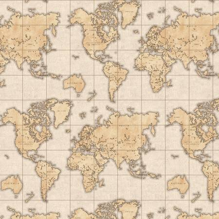 World Map Almond 51382-2