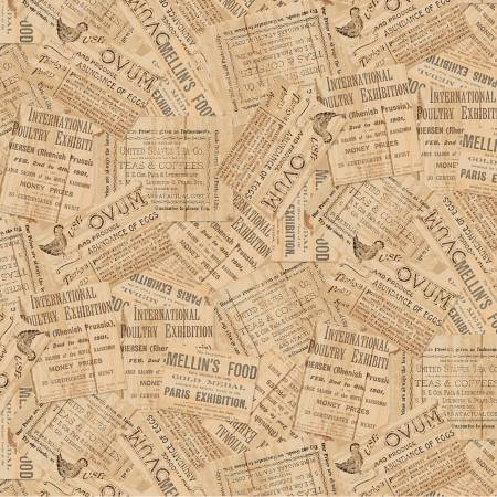 Early Bird - Tan Newspaper Clippings 51402-1 - by Whistler Studios for Windham Fabrics