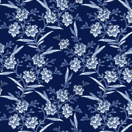 Navy Floral Spray