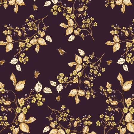 51434 4 Aubergine Bee Blossom Tell The Bees by Hackney & Co. for Windham Fabrics. 100% cotton 43 wide