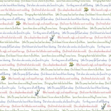 Little Bo Peep Nursury rhyme  red, blue & green writing