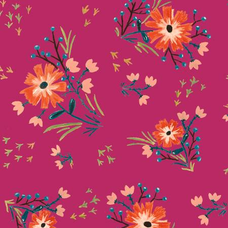 Bungalow Fuchsia Large Floral 51467-5
