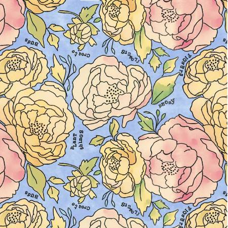 Windham Fabrics- Bluebell Bed of Roses 51654-1