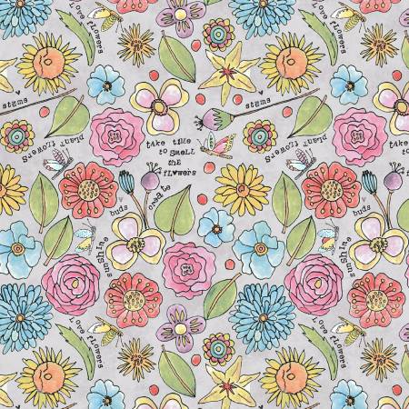 Windham Fabrics- Grey Smell the Flowers 51656-6