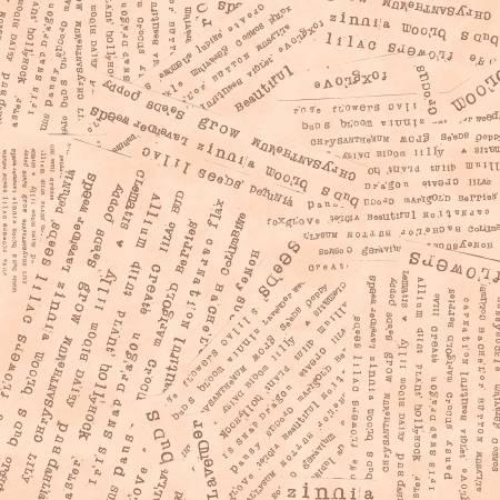 Windham Fabrics Apricot Word Collage 51658-10