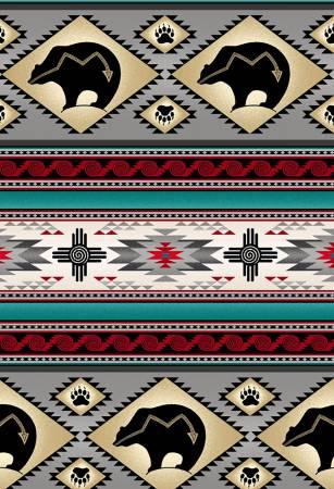 Tucson Grey / Bear 100 % Cotton 42-44 Wide