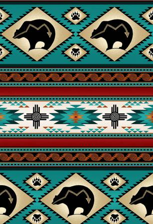 Turquoise Western Stripe 100 % Cotton 42-44 Wide