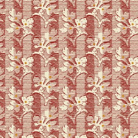 Walnut Creek Red Floral Stripe