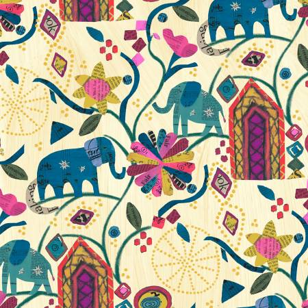 Wish - Old Paper Garden of Dreams Linen - by Carrie Bloomston for Windham Fabrics