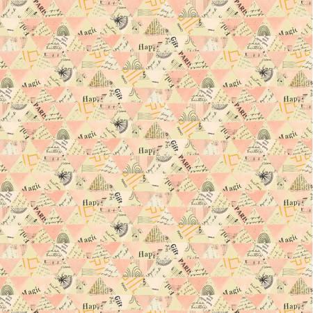 Windham Fabrics- Pink Collaged Triangles w/Metallic 51743M-4