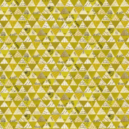 Windham Fabrics- Olive Oil Collaged Triangles w/Metallic 51743M-5