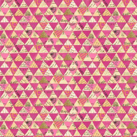 Windham Fabrics- Hot Pink Collaged Triangles w/Metallic 51743M-6