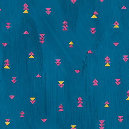 Windham Fabrics- Peacock Floating Triangles w/Metallic 51744M-3