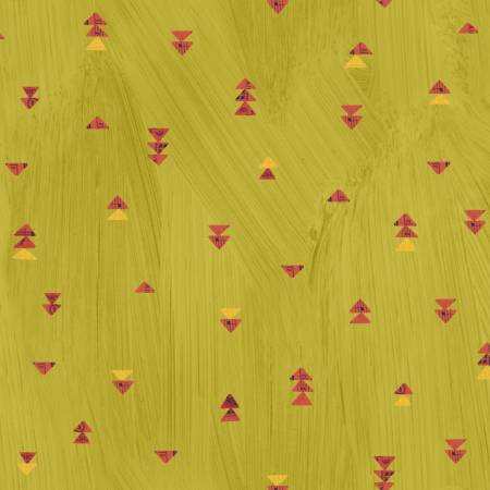 Windham Fabrics- Olive Oil Floating Triangles w/Metallic 51744M-5