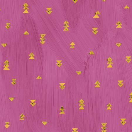 Windham Fabrics- Hot Pink Floating Triangles w/Metallic