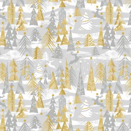 Holiday Village - Silver Reindeer Forest w/Metallic by Windham