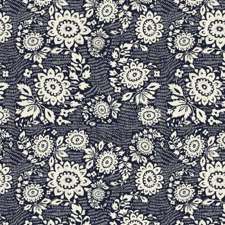Sashiko Floral Stitch indigo