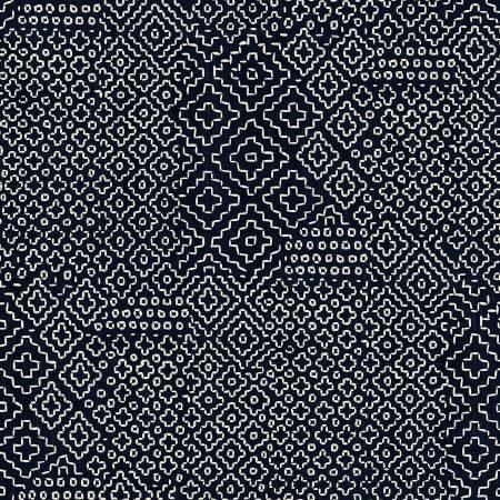 WIND- Sashiko Stitch Sampler Ivory On Indigo