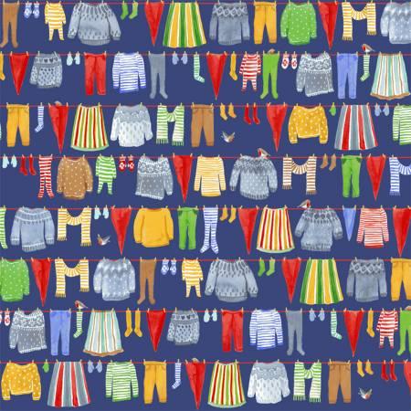 Windham Winter Gnomes 51875-4 Nordic Blue Gnomes Laundry Organic Cotton