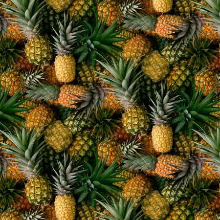 A La Carte Pineapple Welcome Committee Fabric by the yard