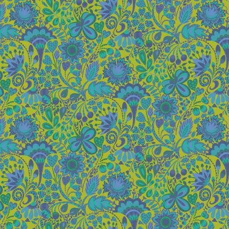 Solstice, Windy print in Blue on Chartreuse