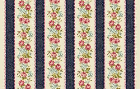 Navy Floral Stripe from the Spellbound Collection for Windham Fabrics