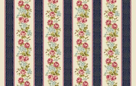 Multi Floral Border Stripe w/Metallic