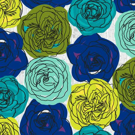 Norma Rose Blue Multi Roses