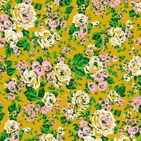 Posy by Annibel Wrigley for Windham Fabrics -Bright Big Posy - Yellow